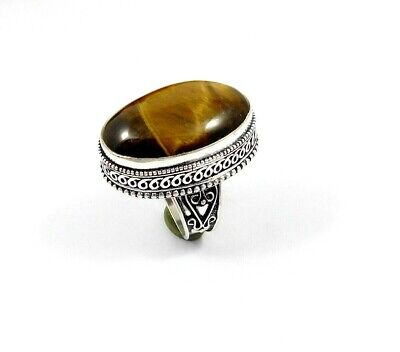 Charming Tiger's Eye Silver Carving Jewelry Ring Size 8.75 JT2342