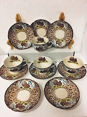 12pc Vintage Maruta Ware Wild Turkeys & Sky 4 Cups & 8 Saucers Made in Japan EVC