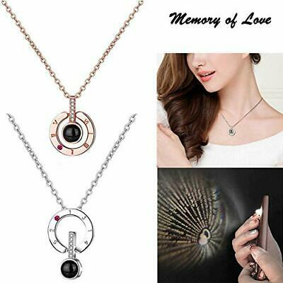 100 Languages Light Projection I Love You Pendant Necklace Lover Jewelry Gifts