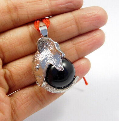 Black Onyx  .925 Silver Plated Elephant Face Carving Pendant Jewelry JC7674