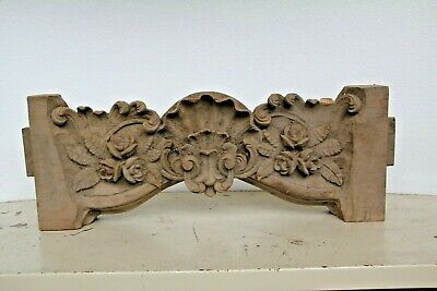 """Stunning 25"""" Hand Carved Wooden Gothic Fancy Shell Sculpture Mirror Top Carving"""