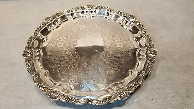 "E.P.C. Poole Silver Co. 12"" Footed Silverplate Tray #3209 Old English Pattern"