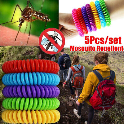 5 Pack Mosquito Repellent Bracelet Wrist Band Pest Control Insect Bug Repeller