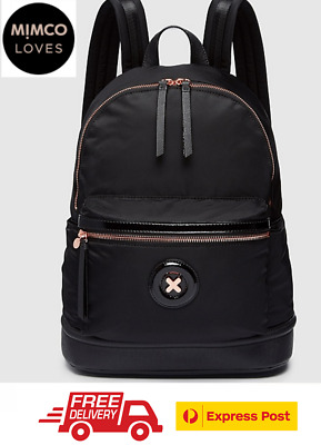 Mimco Daydream Zip Backpack Black With Rose Gold Bnwt Rrp$199- Free Express Post