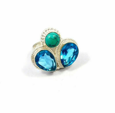 Charming Swiss Blue Quartz & Turquoise Silver Jewelry Ring Size 6.75 JC9101