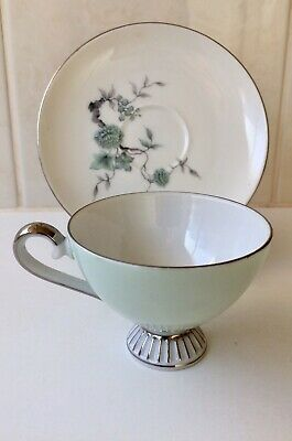 Vintage Westminster Australia Pedestal Cup And Saucer - Green Duo - #600 - 1950s