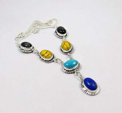 Multi Stone .925 Silver Plated Handmade Necklace Jewelry JC8315
