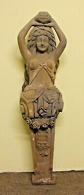 """Stunning 40"""" Hand Carved Gothic Female Ships Head Torso Wood Sculpture"""