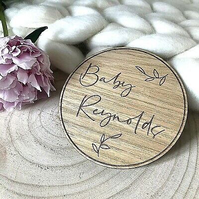Personalised Name Botanical Wooden Disc- Flat Lay Nursery Decor Baby Gift Prop