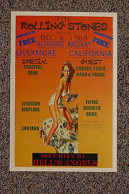 The Rolling Stones Tour Poster 1969 Altamont Hells Angels