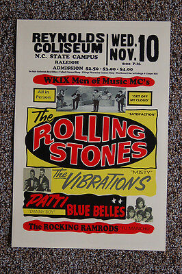 The Rolling Stones Concert Tour Poster 1965 North Carolina Sate Campus  Raleigh