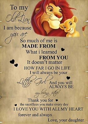 The Lion king Love valentines Typography Romance Photo Print ONLY Wall Art A4 w