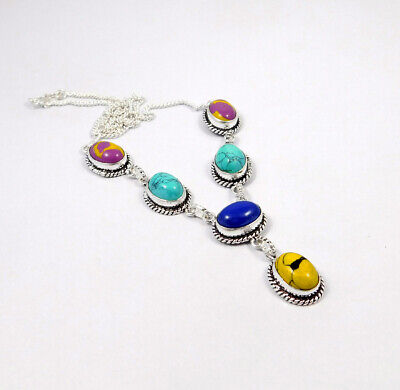 Multi Stone .925 Silver Plated Handmade Necklace Jewelry JC8328