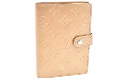 Auth Louis Vuitton Monogram Mat Agenda PM Day Planner Cover Gold LV 64645