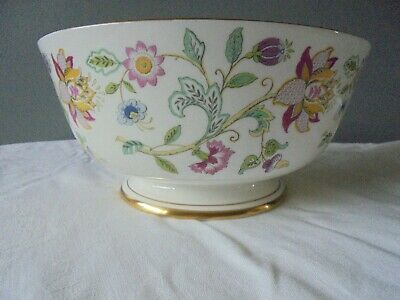 "Minton Haddon Hall Gold Rimmed And Footed Fruit Bowl Salad Bowl 8 3/4"" Vgc"