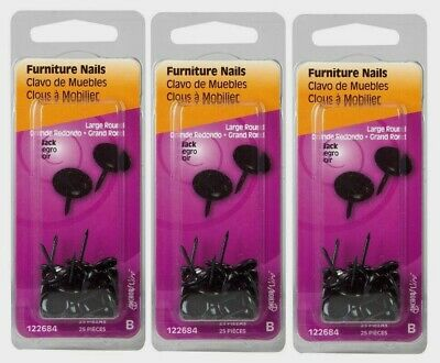 122688 3~New! Hillman Hammered 1//2 in L Furniture Nail Smooth 25 pc