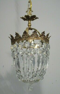 Antique Vintage  Chandelier Brass Hollywood  Crystal Basket Petite Pendant