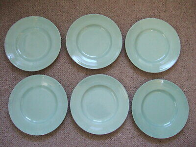 Woods Ware Beryl 25cm Dinner Plates 1940's Retro Vintage Utility x 6