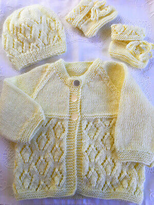 * New Born * 3 Piece Baby Jacket Set * Lemon * Aust Hand Knitted *