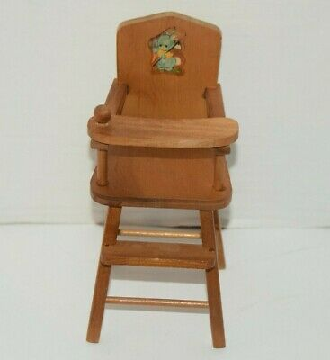 Vintage 1950's Strombecker Wood High Chair W/ Swing Out Tray Doll Furniture