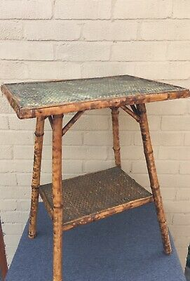 Antique Victorian Chinese Bamboo Canework Side Or Occasional Decorative Table