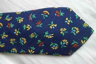 New Without Tag  'Del Mare 1911' Men's Italian Blue Silk Tie With Flower Design
