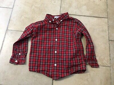 Janie And Jack Red Plaid Button Up Shirt, Boys Size 18-24 Month