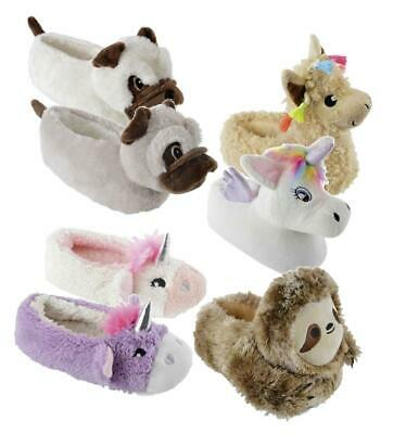 Girls Novelty Character Plush Animal Slippers Nightwear