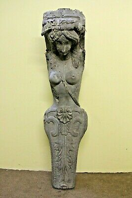 """Stunning 57"""" Hand Carved Gothic Female Ships Head Torso Wood Sculpture"""