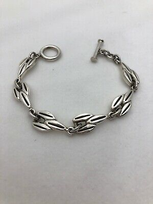 """Sterling Silver .925 1/2"""" x  8"""" Unusual  Different Link Toggle Bracelet"""