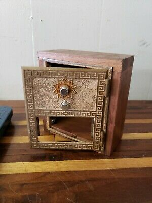 1950s  Vintage US Post Office PO Box Brass Door Wood Coin Bank Box Combo Lock #2