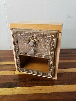 1950s  Vintage US Post Office PO Box Brass Door Wood Coin Bank Box Combo Lock #3