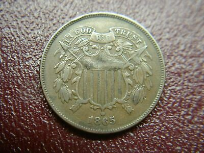1865 U.s. Two Cent Piece - Nice Oldtime Copper Coin With Loads Of Detail