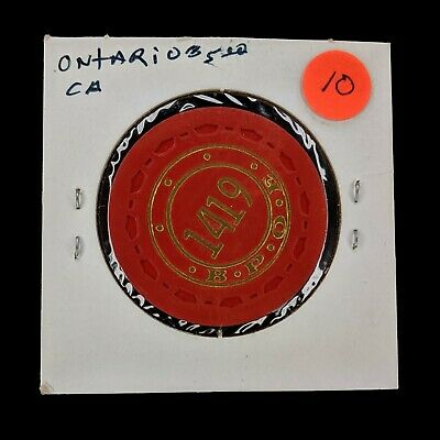 Poker Chip Elks Lodge Ontario CA BPOE 1419 Red TR King Small Crown Scrown $5$