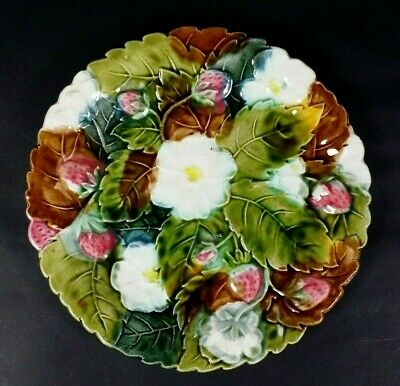 Antique French Majolica Art Nouveau Flower Strawberry Victorian Wall Plate c1890