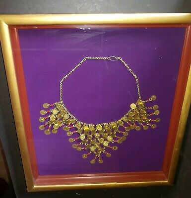 Vintage Egyptian Revival Cleopatra Pharaoh Coin Large Bib Necklace – Framed in S