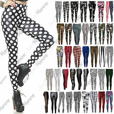 Womens Printed Full Ankle Length Stretchy Skinny Gym Yoga Leggings Pants Trouser