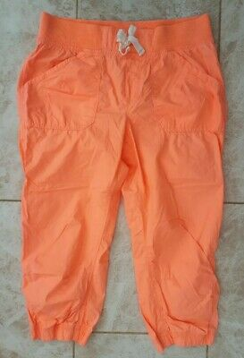 New H&M Girls Age 14 Coral Orange Crop Cargo Trouser Shorts Holiday Fashion BNWT