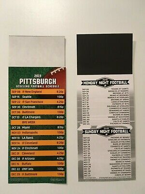 Nfl 2019 Pittsburgh Steelers  Magnet Schedule + All Sunday & Monday Night Games