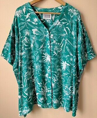 80s 90s Vintage Tropical Patterned Blouse Shirt Green Casual Viscose
