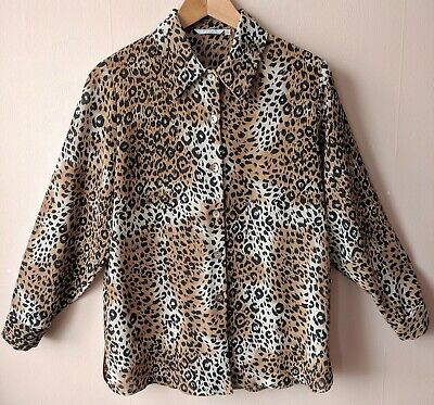 90s Vintage Leopard Print Blouse Shirt 12 14 M Animal Patterned Loose Fit Casual