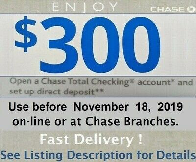 Chase $300 Total Checking Account Bonus Promotion Code Exp. 10/22/19 Card online