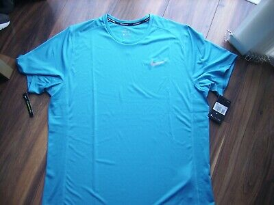 nike light blue running t shirt top dri fit bnwt gym jogging xxl mens tee
