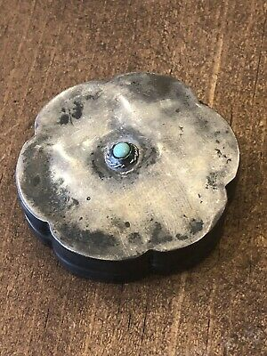 Vintage & Rare Native American 925 STERLING SILVER TURQUOISE TRINKET PILL BOX