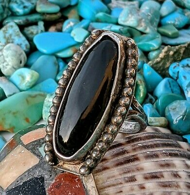 Navajo Vintage 1940's Sterling Silver Onyx Ring Sz: 4.5 Native American pawn