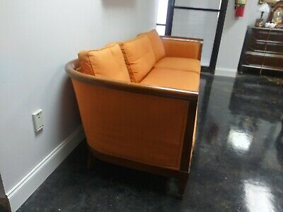 """Vintage 1950'S  Mid Century  Heritage 95"""" Long Carrot Colored Sofa W"""