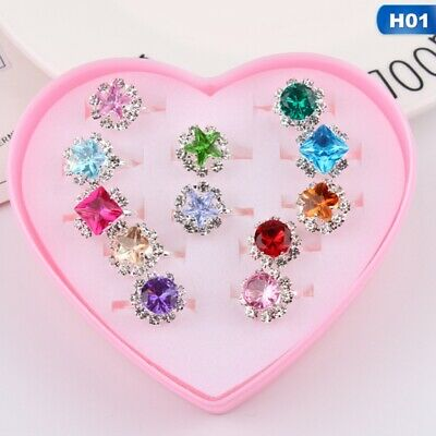 Box-packed Sweet Fancy Adjustable Rings Girls Pretend Play Toy Children Gift Wzm