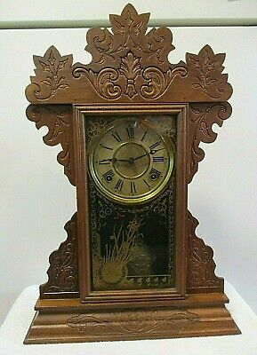 Vintage Sessions Gingerbread Kitchen Parlor Mantel Clock Gongs w/key