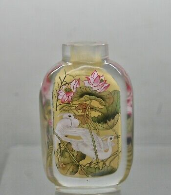 Spectacular Antique Chinese Cut Glass Inside Painted Snuff Bottle Circa 1870s