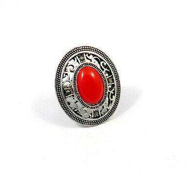 Red Coral .925 Silver Plated Handmade Ring Size-7.75 Jewelry JC9081